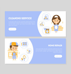 cleaning service home repair landing pages vector image