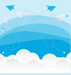 Clouds with paper planes vector