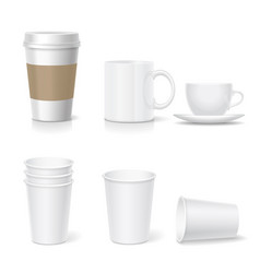 Coffee paper cup template and coffee mug set vector
