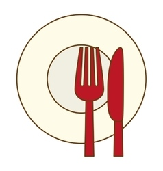 color knife fork and plate icon vector image