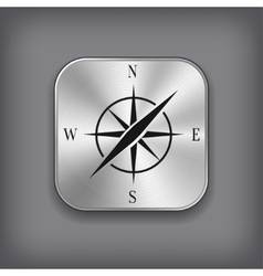 Compass icon - metal app button vector image