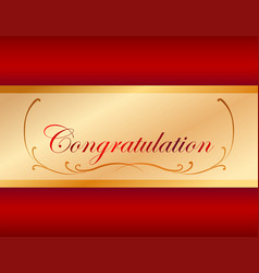 Congratulation card template with red background vector