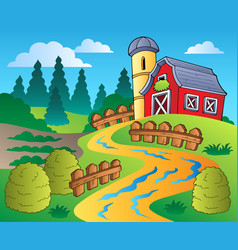 Country scene with red barn 4 vector