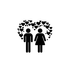 couple in love silhouette black vector image