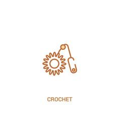 Crochet concept 2 colored icon simple line vector