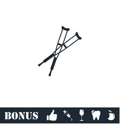 crutches icon flat vector image