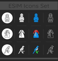 Culture korea dark theme icons set vector