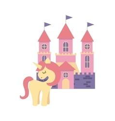 Cute pink fantasy castle vector
