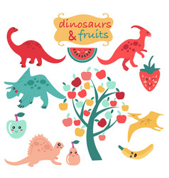 cute set of dinosaurs and fruits vector image