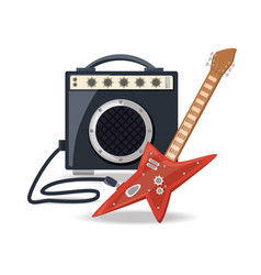 Electric guitar with amplifier speaker music vector