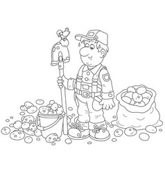 Farmer with his potato crop vector