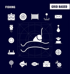 Fishing solid glyph icon pack for designers and vector