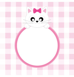 frame pink cat vector image