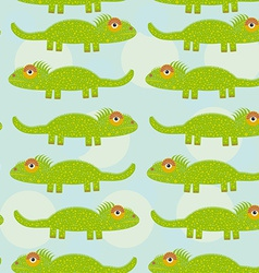 Funny green iguana Seamless pattern with cute vector