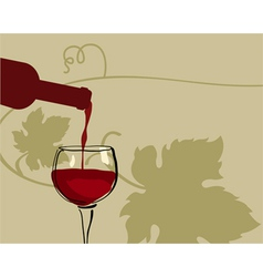glass of red wine with grape vector image