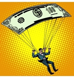 Golden parachute business concept cash vector image