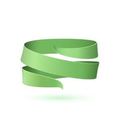 Green ribbon isolated on white background vector image vector image
