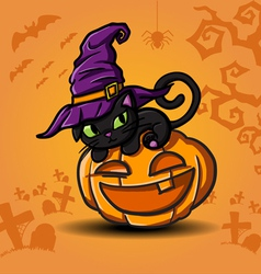 Halloween black cat and pumpkin vector