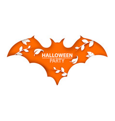 Halloween cut paper bat vector