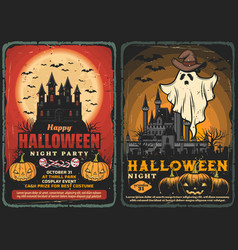 Halloween haunted house ghost with bats pumpkins vector
