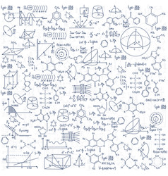 hand drawn chemistry formulas science knowledge vector image