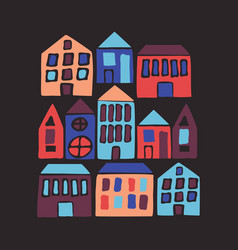 Hand drawn flat houses with cartoon city vector