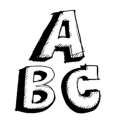 hand drawn sketch letter abc vector image