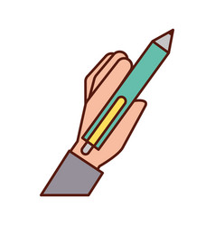 hand holding pen write supply vector image