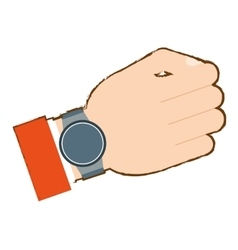 hand with smart watch trendy wearable vector image