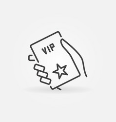 hand with vip card outline icon vector image