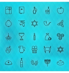 Happy Hanukkah Thin Line Icons Set vector image