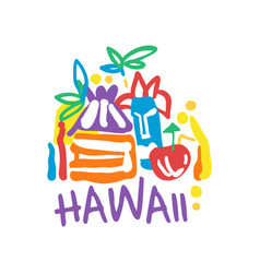 Hawaii island logo template original design vector
