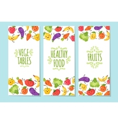 Healty food cartoon representing banners set vector image
