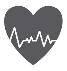 heartbeat glyph icon ecg and cardiology heart vector image