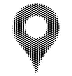 Hexagon halftone map pointer icon vector