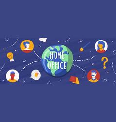 home office banner global people work team vector image