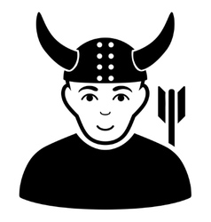 Horned Warrior Flat Icon vector