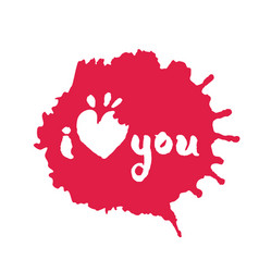 I love you lettering in red inky blot vector