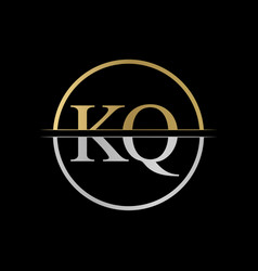 initial kq letter logo design abstract letter kq vector image