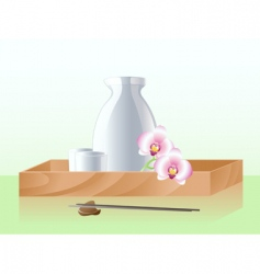 Japanese sake set vector
