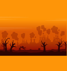 landscape environment issue on orange backgroud vector image