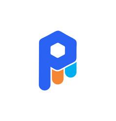 letter p logo icon concept vector image