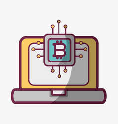 Line icon computer circuit bitcoin money currency vector