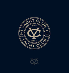 logo yacht club y c monogram sea marima vector image