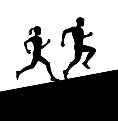 Men and Women Running Silhouette vector image