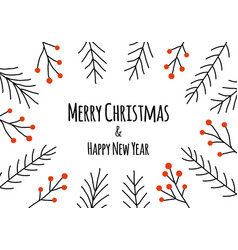 merry christmas happy new year greeting card vector image