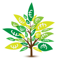 money tree with leaves in euro business concept vector image
