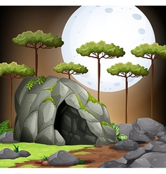 Nature scene of cave on fullmoon night vector