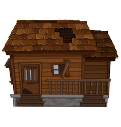 Old wooden house in bad condition vector