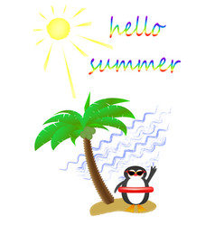 palm tree and a cute penguin wearing sunglasses vector image